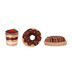 Sweet and sugary chocolate desserts with doughnut vector