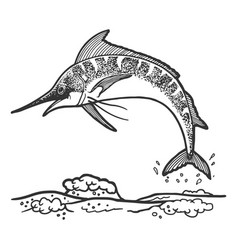 Swordfish marlin jumping sketch engraving vector