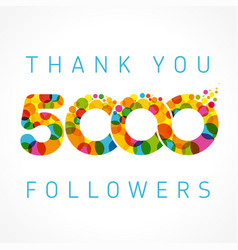 Thank you 5000 followers color numbers vector