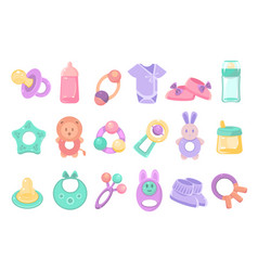 Toys and accessories for baby sett newborn infant vector
