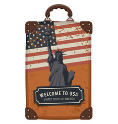 travel bag with flag usa and statue liberty vector image