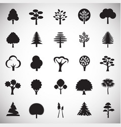 Trees icon set on white background for graphic and vector