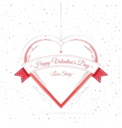 Valentines Day Card Lettering Red Frame vector