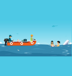 water rescue team vector image