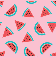 Watermelon slices seamless pink pattern vector