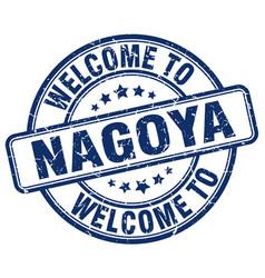 welcome to nagoya blue round vintage stamp vector image