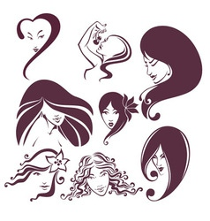 woman heads vector image