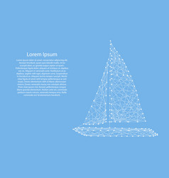 yacht with sails from abstract futuristic vector image