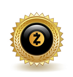 Zcash cryptocurrency coin gold badge vector