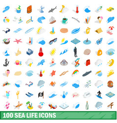 100 sea life icons set isometric 3d style vector image