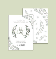invitation with eucalyptus leaves modern vector image