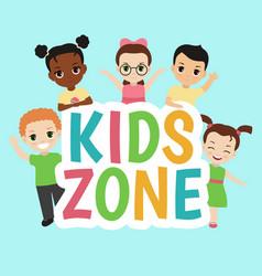 kids zone banner design vector image