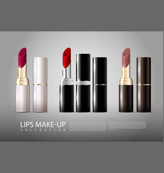 realistic lipsticks collection vector image