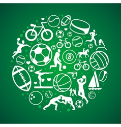 round concept with sport icons and sign vector image vector image