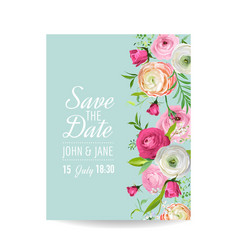 save the date card with blossom ranunculus flowers vector image