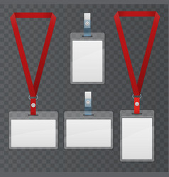 set of lanyard and badge template plastic badge vector image