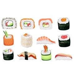 Sushi set Japanese seafood sushi rolls collection vector image vector image