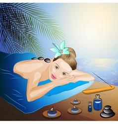 Lady Enjoying a Hot Stone Massage Cartoon vector image vector image