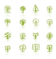 Set of sketch trees for your design vector image