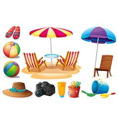 Things found at the beach during summer vector image vector image