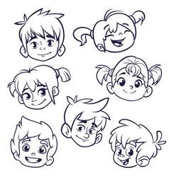 cartoon children heads icons vector image