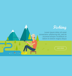 fishing and camping concept young fisherman vector image vector image