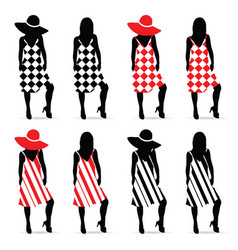 girl silhouette set in red and black dress vector image
