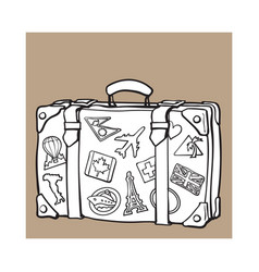 hand drawn retro style travel suitcase with labels vector image vector image