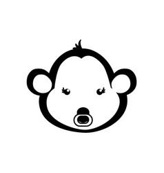 Monkey cartoon head drawing animal vector