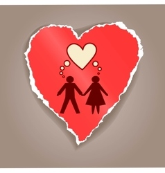Paper heart with man and woman silhouette vector image vector image