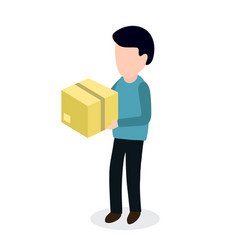 Person with box sending parcel vector