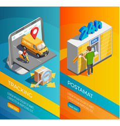 delivery isometric vertical banners vector image
