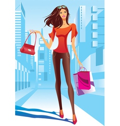 Fashion girl is walking on a street vector image vector image
