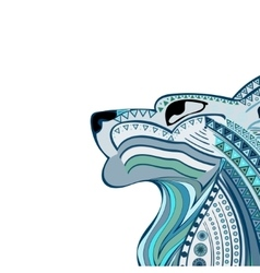 Vintage wolf head ethnic color pattern hand draw vector image