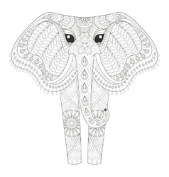 Zentangle Ornamental Elephant for adult coloring vector image vector image