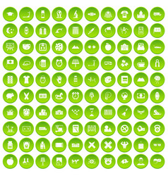 100 alarm clock icons set green circle vector