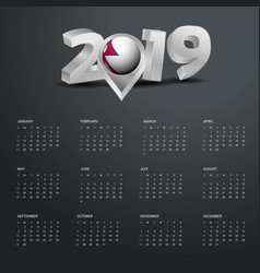 2019 calendar template grey typography with nepal vector