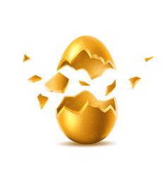 3d golden egg with broken eggshell vector