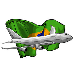 airplane with brazil flag vector image