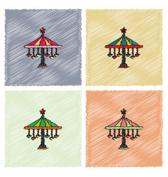 Amusement park circus attraction in hatching style vector