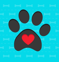 Animal paw with heart blue card vector