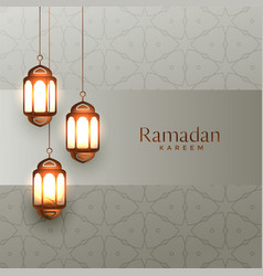 Arabic ramadan kareem background with hanging vector