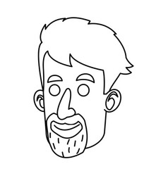 Avatar face man beard mustache outline vector
