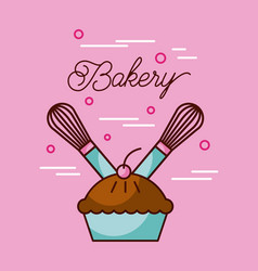 Bakery sweet cake and two whisk preparation vector