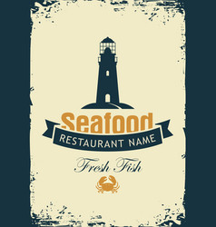 Banner for seafood restaurant with lighthouse vector