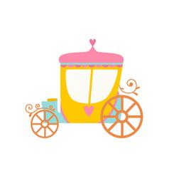 beautiful princess fairytale carriage cartoon vector image