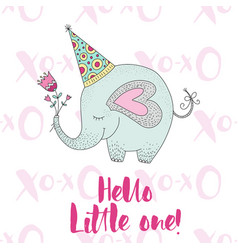 birthday with cute elephant vector image