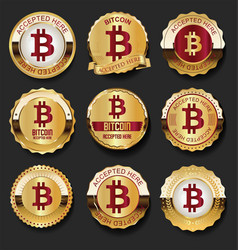 bitcoin accepted here golden labels vector image