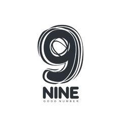 Black and white sketch style number nine logo vector image