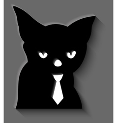 Black cat in a tie vector